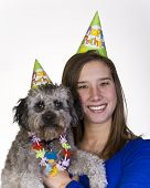 picture of parti poodle  - Female and her dog celebrate a birthday - JPG