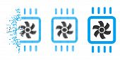 Chip Cooling Icon In Fractured, Dotted Halftone And Undamaged Whole Variants. Pixels Are Arranged In poster