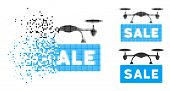 Airdrone Sale Icon In Disappearing, Dotted Halftone And Undamaged Entire Versions. Fragments Are Com poster