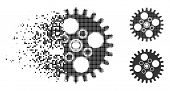 Cogwheel Icon In Disappearing, Pixelated Halftone And Undamaged Entire Variants. Points Are Composed poster