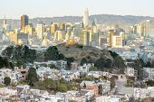 Sunset Over San Francisco From Tank Hill In Cole Valley - Twin Peaks. Tank Hill Park, San Francisco, poster