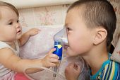 Sick Children - Baby Girl And Boy Use Nebulizer Mask For Inhalation, Respiratory Procedure By Pneumo poster