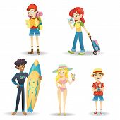 Traveling Cartoon Character. Happy World Travel Set Of People On Vacation Leisure And Recreation poster