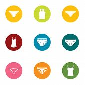 Erotic Lingerie Icons Set. Flat Set Of 9 Erotic Lingerie Vector Icons For Web Isolated On White Back poster