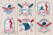 Set Of Baseball Or Softball Club Badge. Vector. Concept For Shirt Or Logo, Print, Stamp Or Tee. Vint poster
