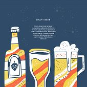 Handdrawn Concept With Different Hand Drawn Beer And Place For Your Text. Banner For Restaurant Or O poster