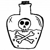 Jar Of Poison Icon. Vector Illustration Of A Jar With A Dangerous Liquid. Hand Drawn Glass Jar With  poster