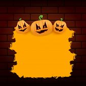 Halloween Web Orange Grunge Banner Or Poster With Halloween Scary Pumpkins Isolated On Brick Wall Ba poster