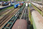 image of freightliner  - Railway goods station in the russian  Vladivostok - JPG
