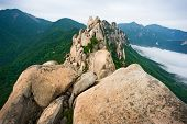 image of seoraksan  - Famous Ulsanbawi Rock against the fog seorak mountains at the Seorak - JPG