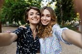 Image of happy young women friends outdoors in park having fun looking camera take a selfie. poster