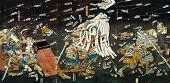 Постер, плакат: Битва самураев на японская традиционная живопись