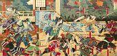 Постер, плакат: Самурай Битва на старых винтажные японские традиционные картины