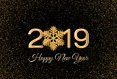 New Year 2019 Greeting Card. 2019 Golden New Year Sign With Golden Snowflake And Glitter On Dark Bac poster