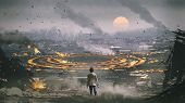 Post Apocalypse Scene Showing The Man Standing In Ruined City And Looking At Mysterious Circle On Th poster