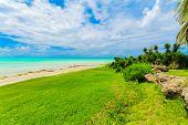 Varadero, Cuba, Gorgeous, Beautiful Inviting View From Tropical Garden On Cuban Varadero Beach, Tran poster
