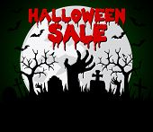 Halloween Sale Background With Hands Zombie.vector Illustration poster