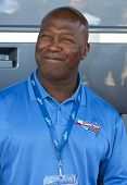 JOLIET, IL - JUL 15: NFL Chicago Bears head coach, Lovie Smith, poses for photos at the USG Sheetroc