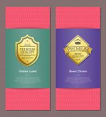 Golden Label And Best Choice Pink Posters Set. Premium Quality And Royal Assurance Of Production Exc poster