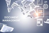 Document Management Text Over Gray Background With Papers Swirling Around And Electronic Document Ic poster