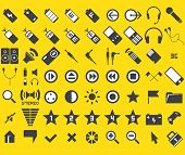 set of 63 media and web icons