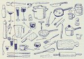 stock photo of kitchen utensils  - Kitchen Utensils Doodles Vector - JPG
