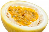 Passion Fruit, Close Up Yellow Color Passion Fruit Pulp And Seed Isolated On White. poster