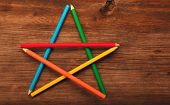 Pencil Star Figure Wooden Table Studio Quality poster