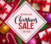 Christmas Sale Vector Banner Design With Sale Discount Text In White Space And Colorful Christmas El poster