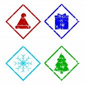 Christmas Rubber Stamp Elements Set Isolated On White. Vector Santa Claus Hat And Giftbox Imprint, S poster