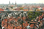 Cityscape Of Copenhagen With Churches And Historical Building, Denmark. Top View On Danish Capital. poster