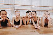 Girls Resting After Ballet Training On Floor. Classical Ballet. Girl In Balerina Tutu. Training Indo poster