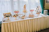 Candy Bar With A Lot Of Cookies And Fruits During The Wedding. Chocolate Fountain And Wedding Cake.  poster