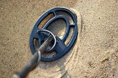 Coil Metal Detector On The Beach Sand In Search Of Jewelry Lost While Swimming, Summer Jewelry Searc poster