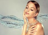 Beautiful Spa Woman With Water Splashes. Moisturizing Facial Skin, Beauty And Care. poster