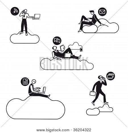 Cloud Computing Men Silhouettes Bn