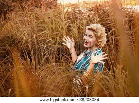 Beautiful Happy Surprised Pinup Girl