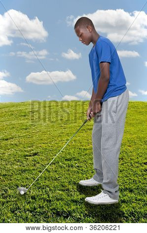 Black Teenage Golfer