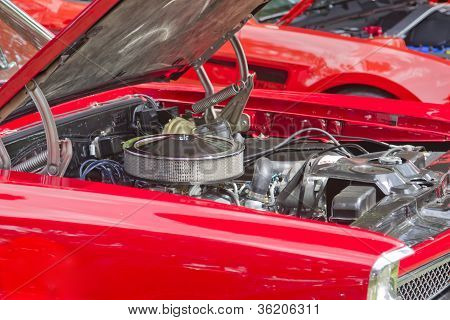 1967 Red Pontiac Gto Muscle Car Engine