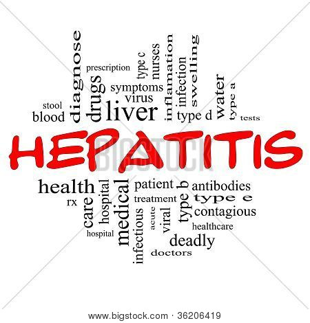 Hepatitis Word Cloud Concept In Red & Black
