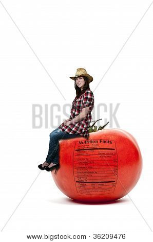 Woman Sitting On Tomato