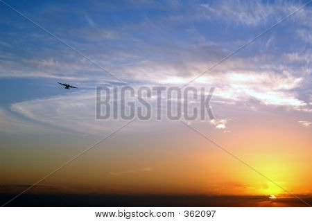 Sunset With An Airplane