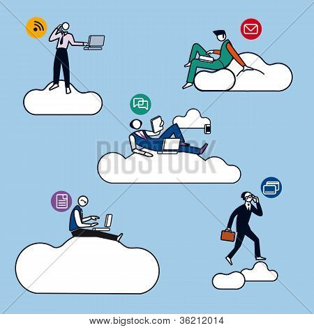 Cloud Computing hombres siluetas Color