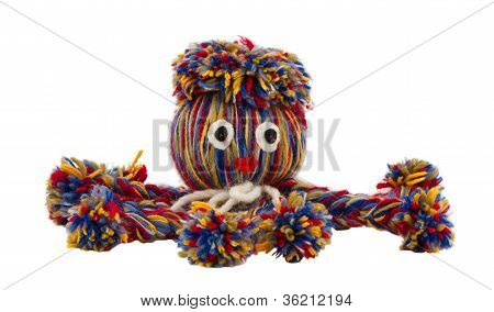 Octopus Devilfish Colorful Woolen Threads Isolated