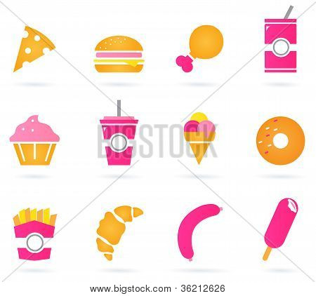 Unhealthy Food Icons Isolated On White
