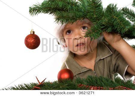 Muchacho con sombrero de Santa ocultar