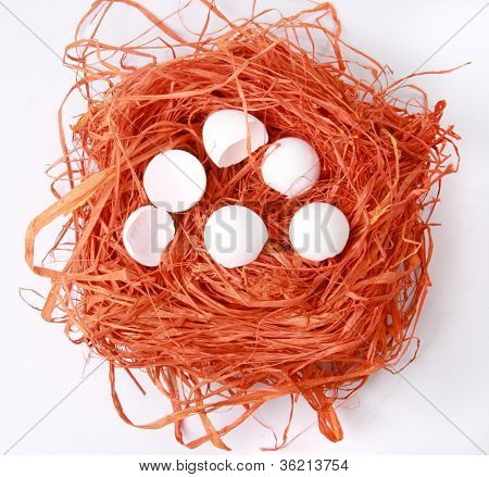 Abstract Background Texture, Natural Orange Raffia. Nest With Broken Eggs