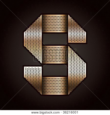 Letter metal gold ribbon - S