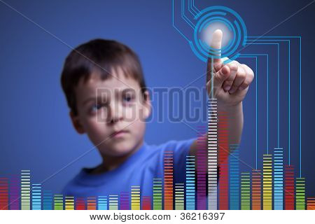 Child Pointing To Colorful Graph - With Copy Space