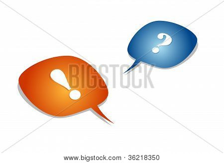 question and exclamation mark with speech bubbles